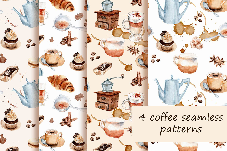 watercolor drawings coffee set example image 2