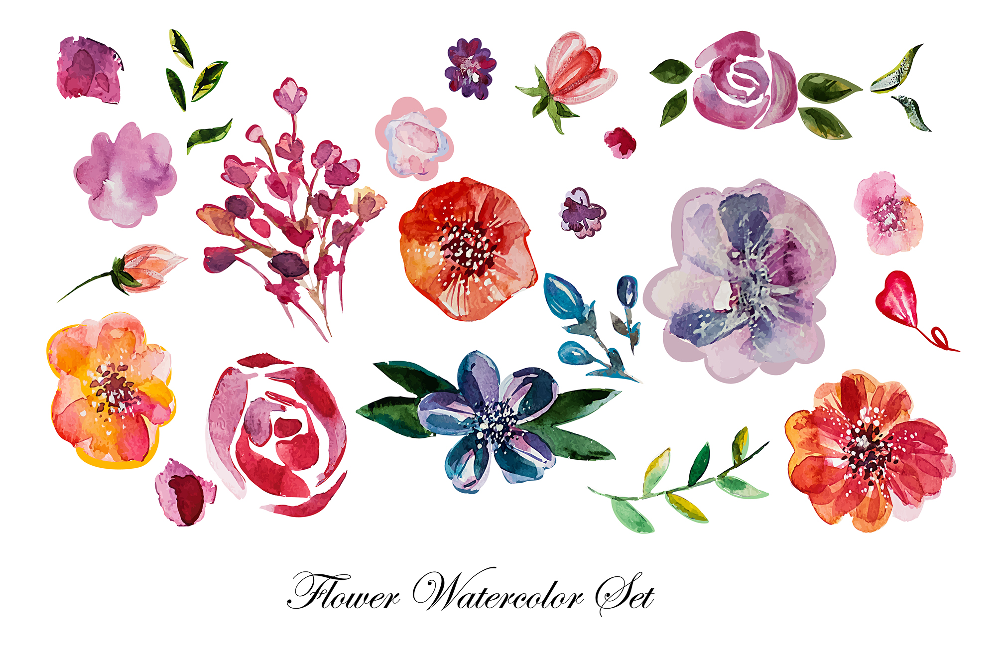 Watercolor flowers set example image 3