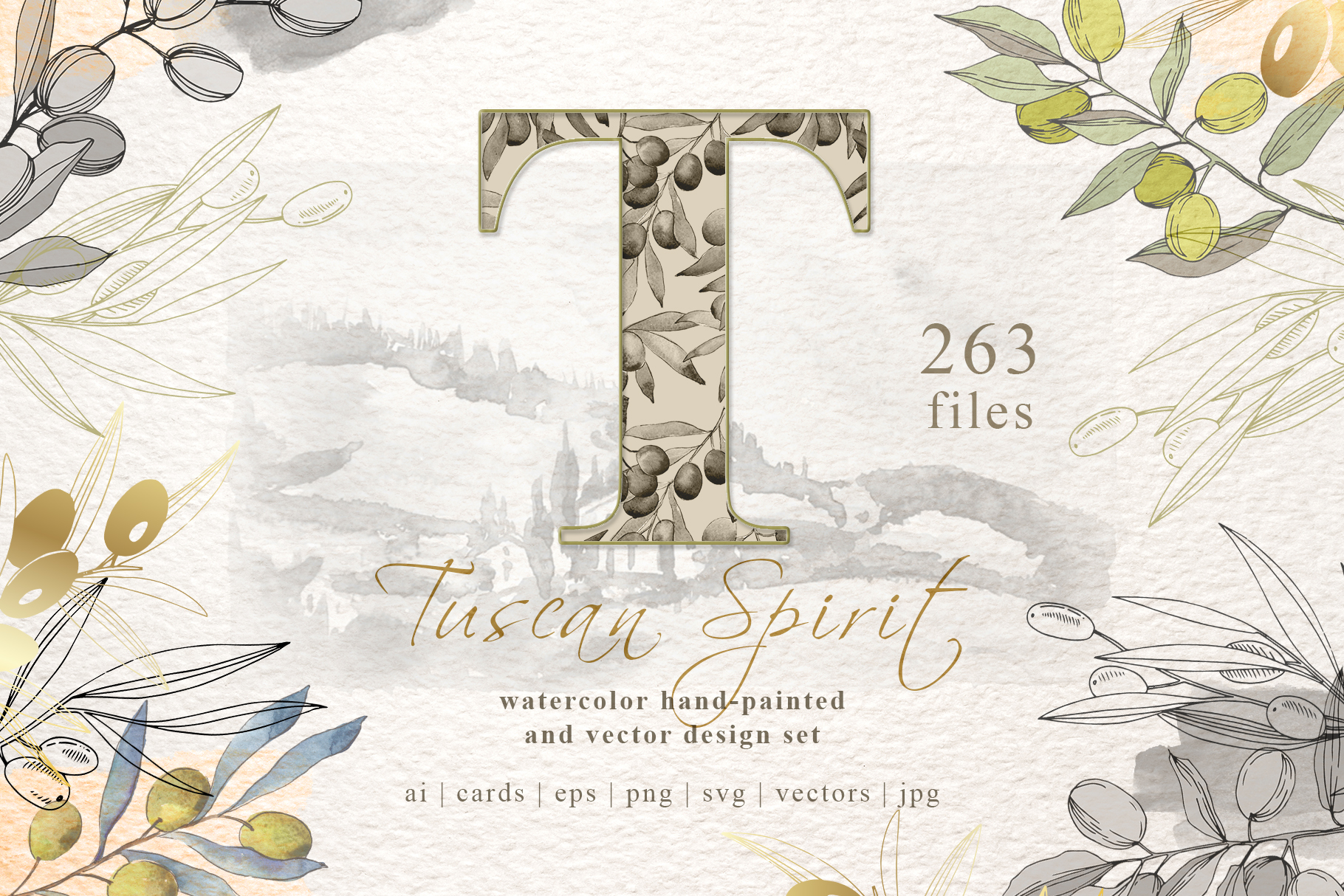 Tuscan Spirit watercolor and vector set example image 1
