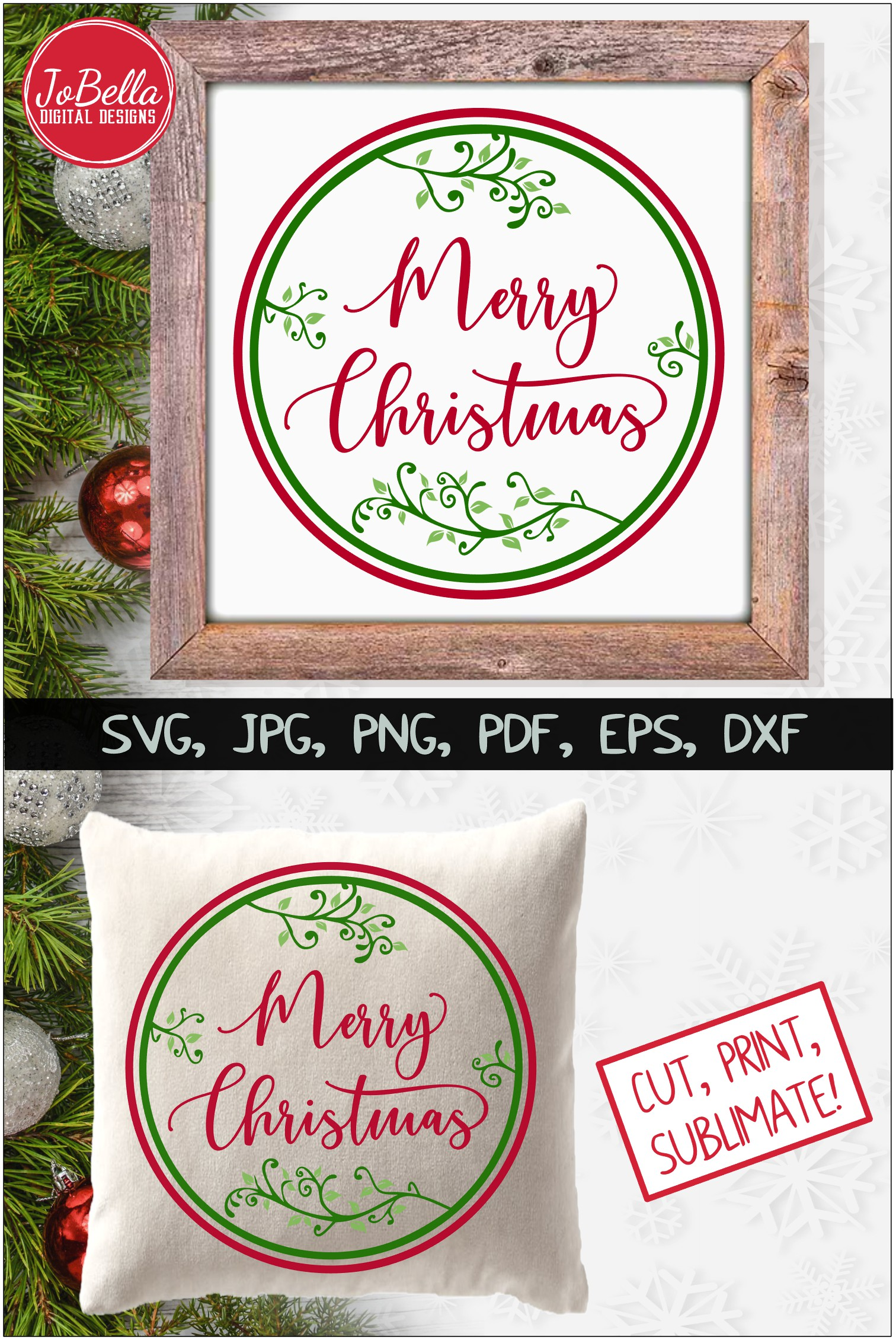 Round Vines Merry Christmas SVG Printable & Sublimation PNG example image 4