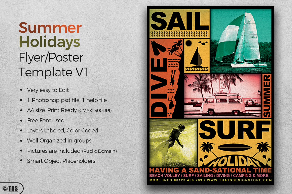 Summer Holidays Flyer Template V1 example image 2