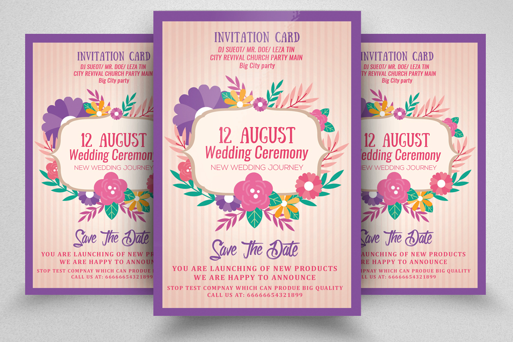 Floral Wedding Invitation / Flyer example image 1