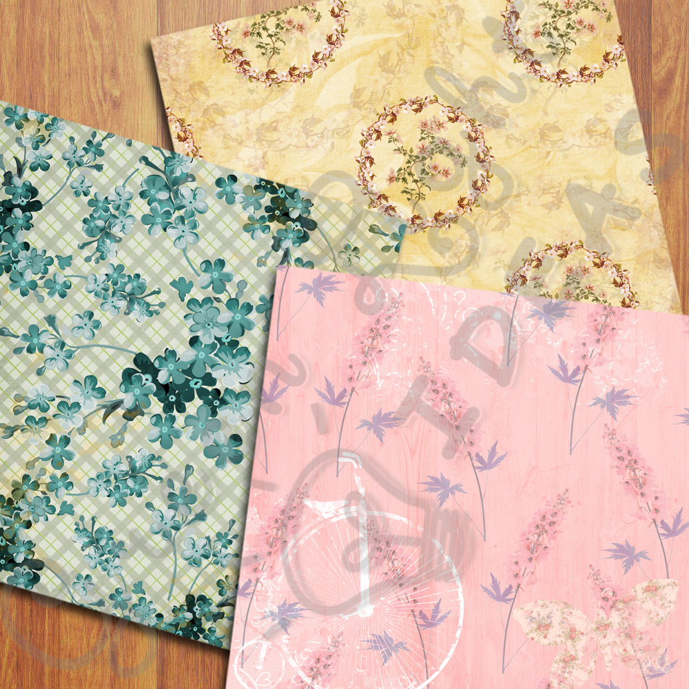 Vintage Floral Digital Papers, Shabby Chic Scrapbook Papers example image 3