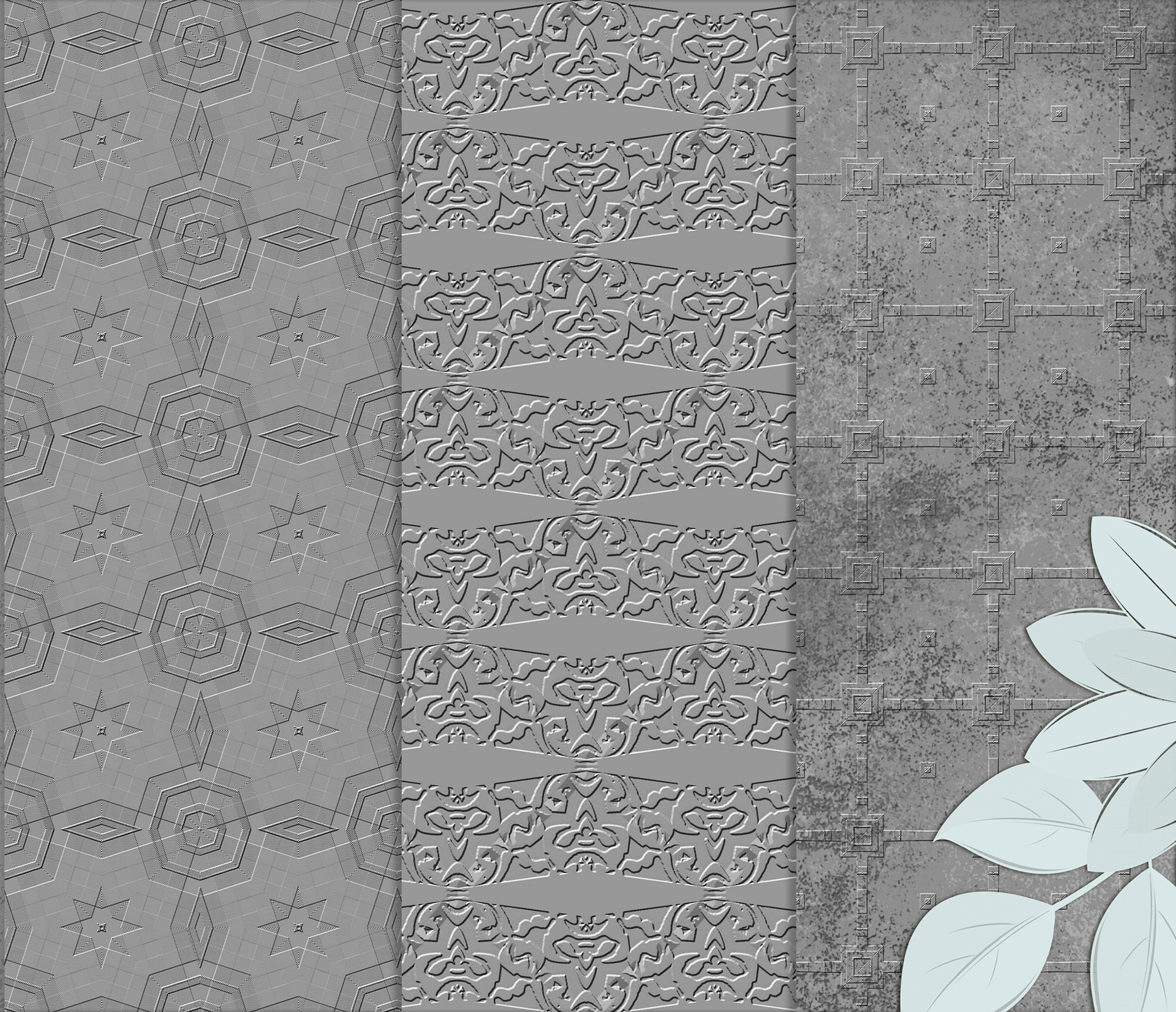 Royal Silver textures, digital Printable Scrapbook Paper example image 5