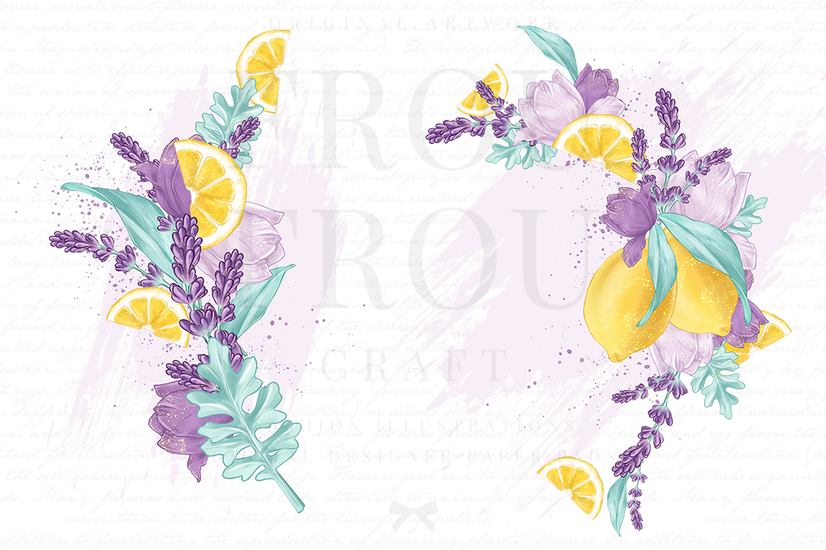 Lemons Fruits Lavender Citrus Purple Yellow Clip Art example image 2