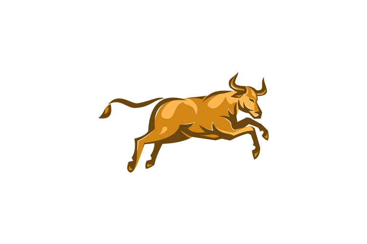 texas longhorn bull jumping side retro example image 1