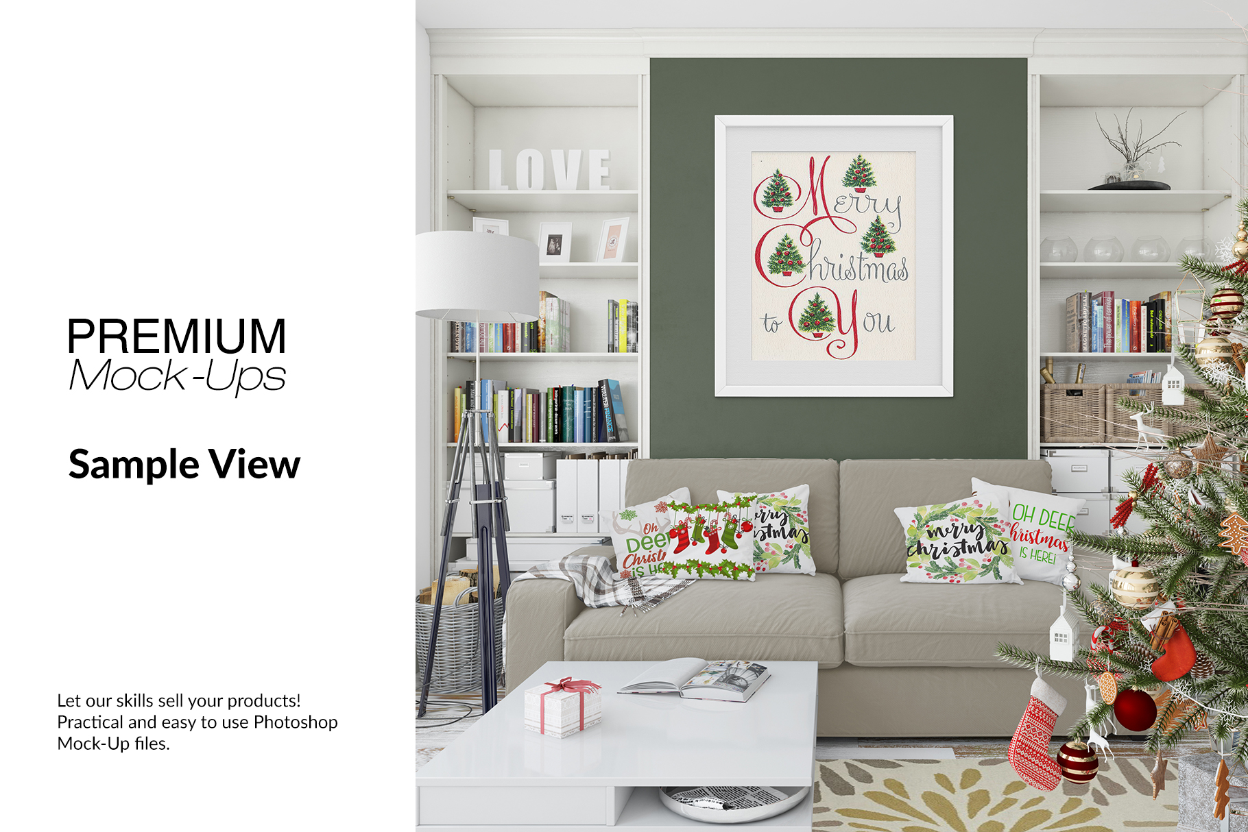 Christmas Living Room Set - Throw Pillows Frames & Wall example image 9