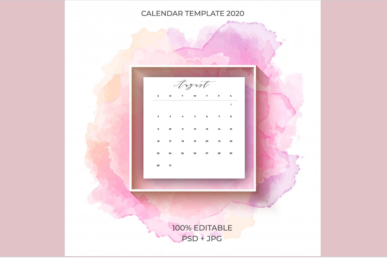 2020 Calendar Template PSD-JPG-PDF | Easy to edit example image 1