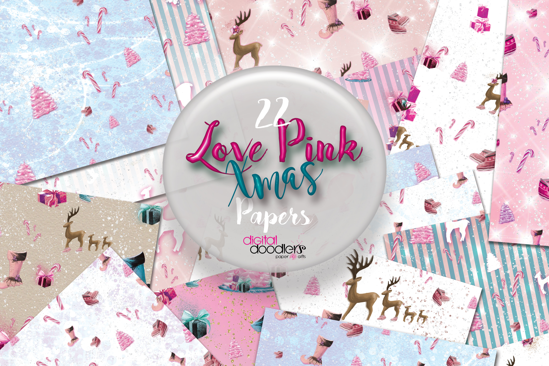 Love Pink Xmas Digital Paper example image 8