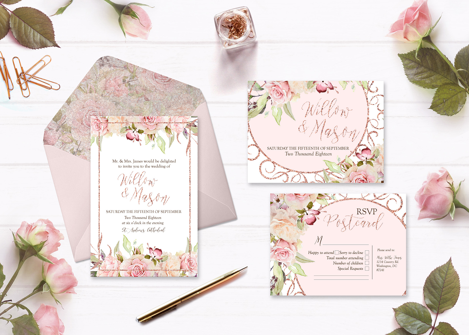 Pretty in Pink Watercolor Collection example image 5