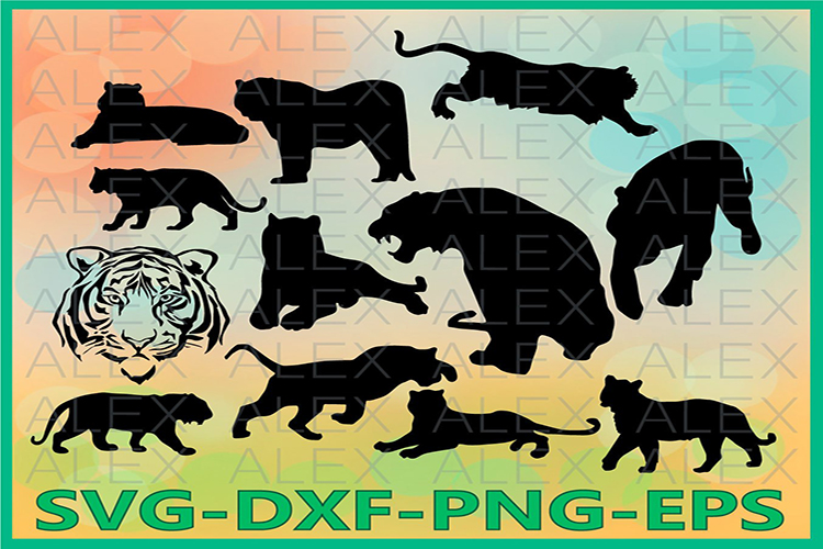 Tiger SVG, Tiger Silhouette png, Tiger Clipart example image 1