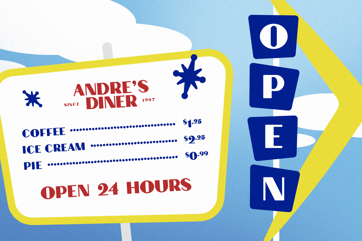 Andre's Diner Display Font example image 3