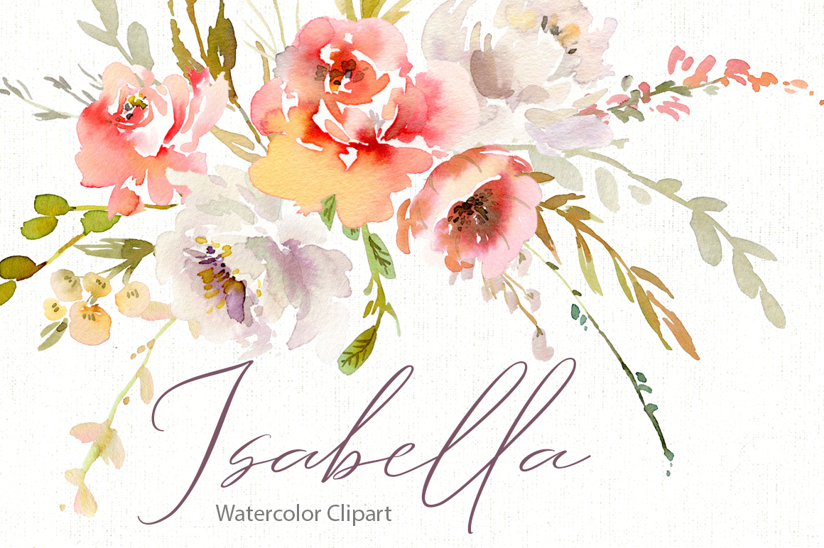 Watercolor Pink White Red Flowers PNG Collection example image 1
