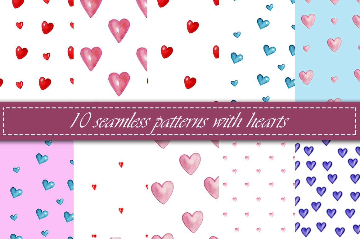 seamless patterns with hearts example image 1
