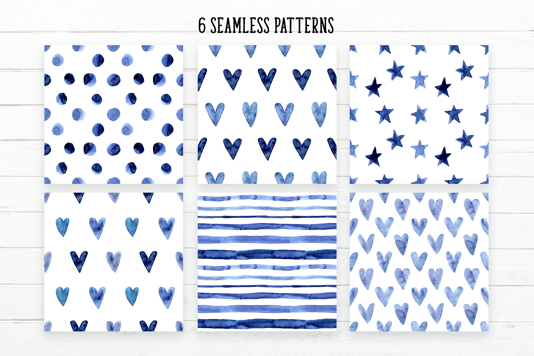 Indigo Blue Watercolor Patterns example image 2