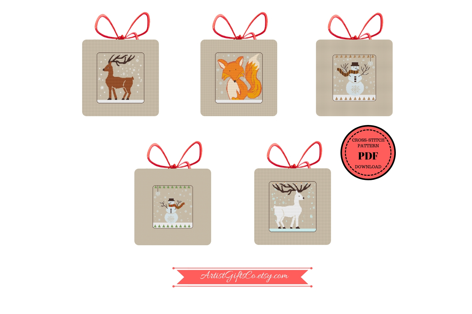 Set 5 Christmas Winter Animals, Counted Cross Stitch Pattern example image 1