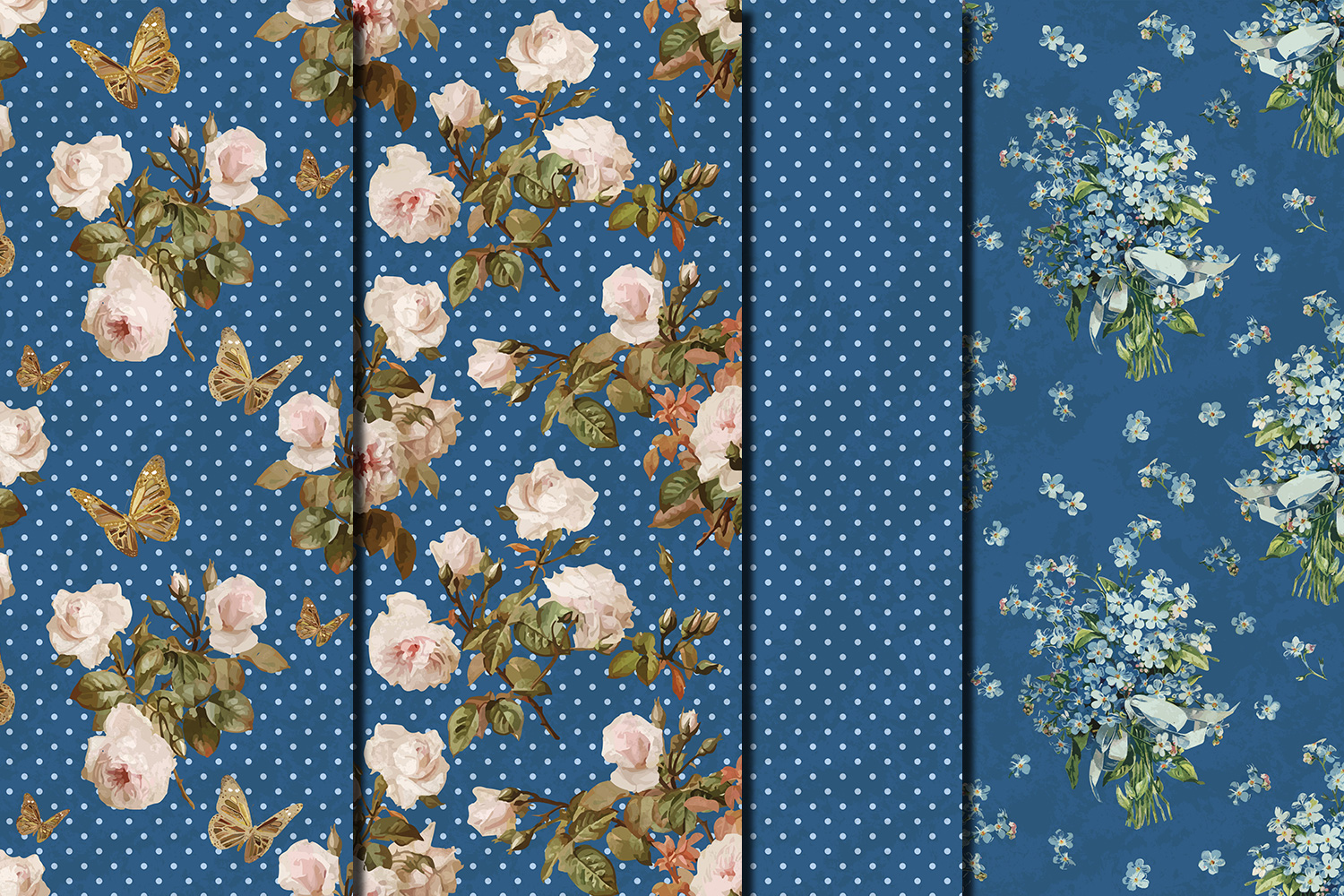 Shabby chic roses seamless patterns example image 5
