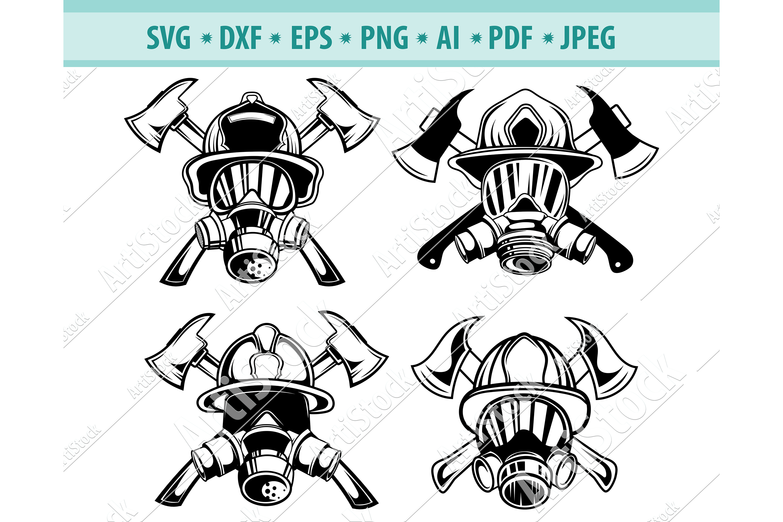 Firefighter logo svg, Fireman Fire Helmet Svg, Dxf, Png, Eps example image 1