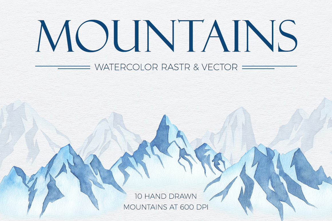 Mountains Watercolor Set example image 1