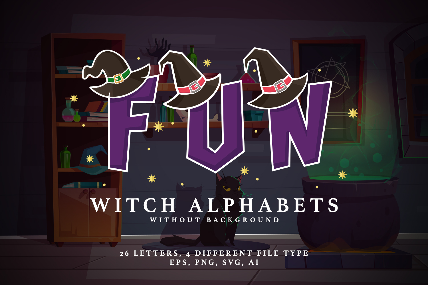 Witch Alphabets Without Background example image 1