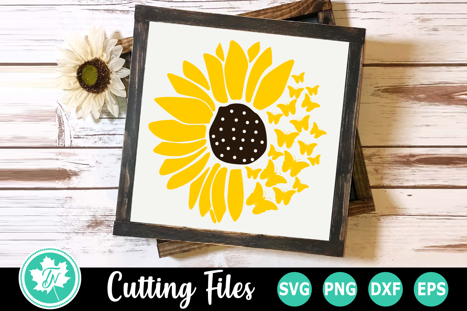Sunflower Butterflies - A Summer SVG Cut File example image 1