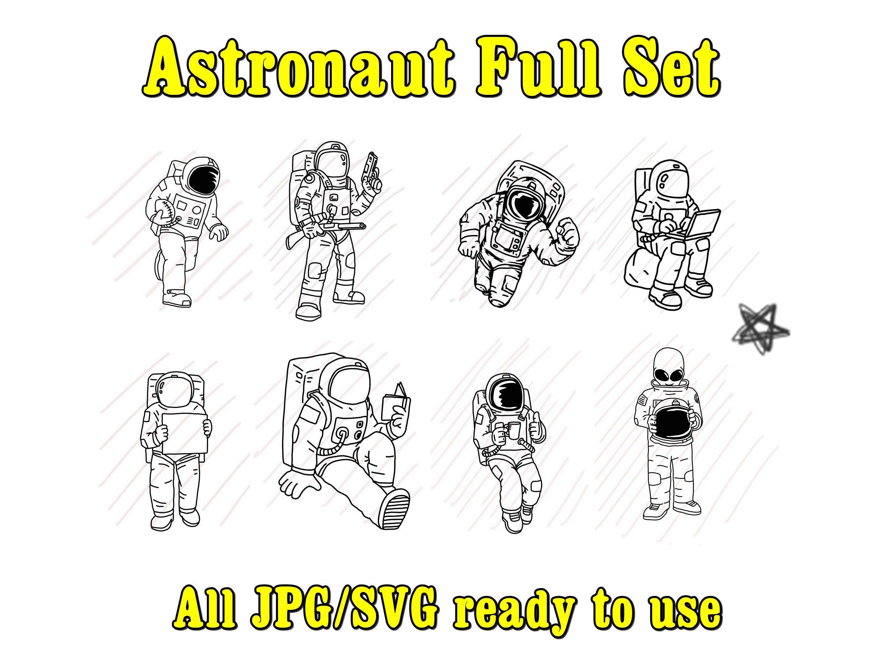 Astronaut Bundle Set - SVG/JPG/PNG Hand Drawing example image 1