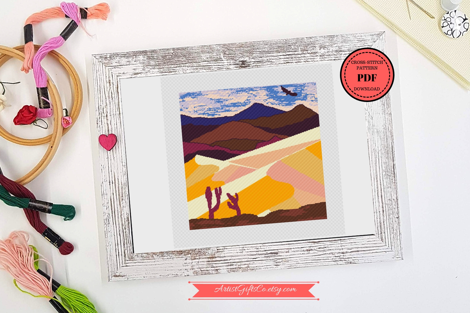 Desert landscape Cross stitch pattern PDF, Great Sand Dunes example image 2
