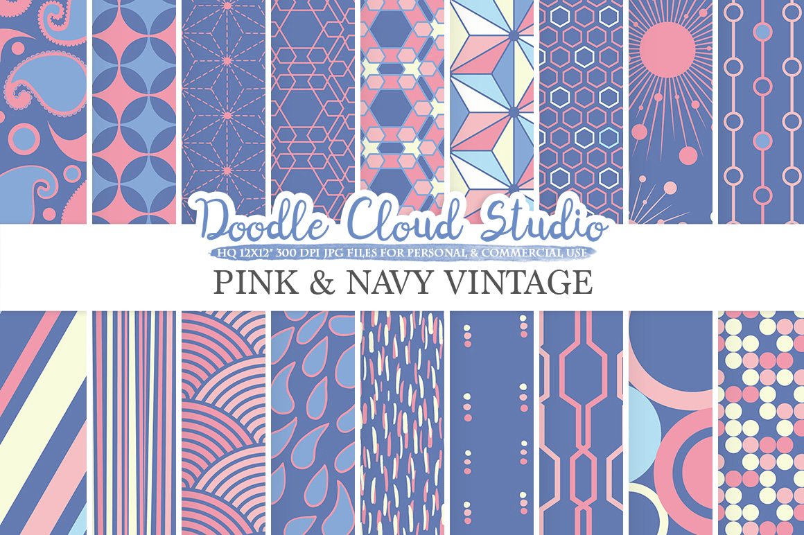Pink and Navy Retro digital paper, Geometric Vintage patterns, Purple Blue Cream digital backgrounds for Personal & Commercial Use example image 1