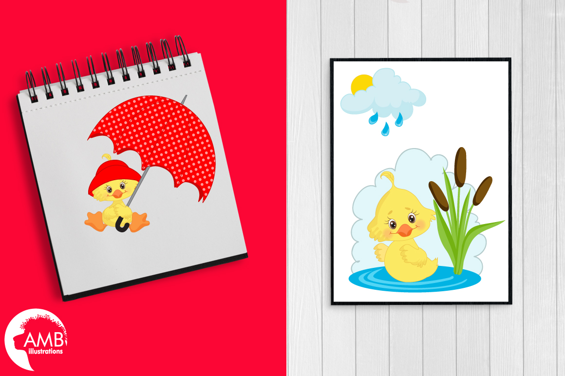 Rainy Day Ducks graphic, illustration, Clipart pack AMB-1823 example image 2