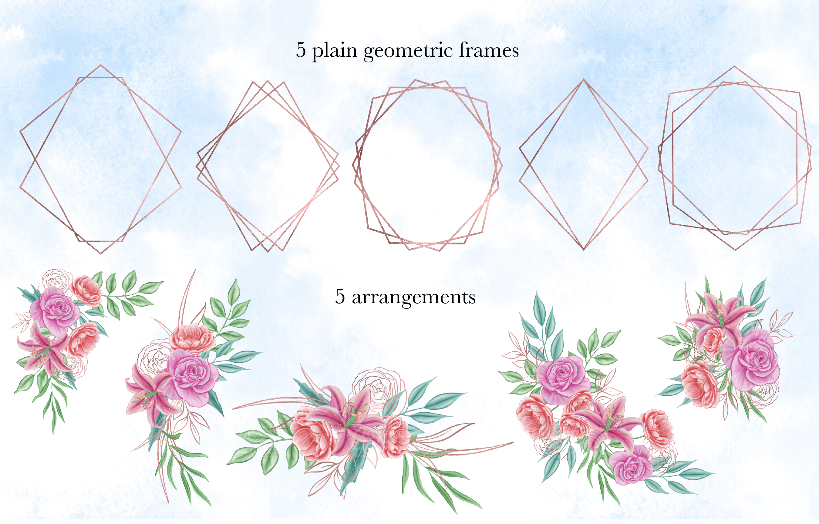 Floral geometric- watercolor frames Clipart collection example image 3