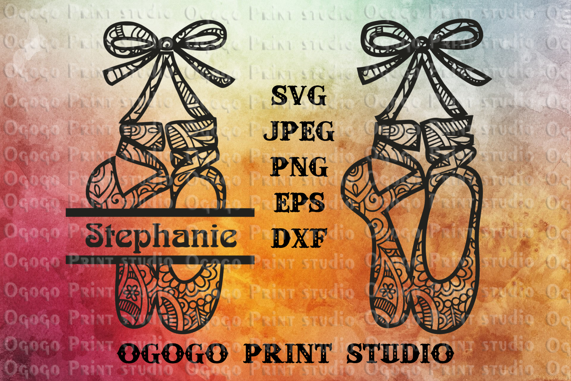 Ballet Shoes SVG, Pointe Shoe Svg, Zentangle SVG,Mandala svg example image 1