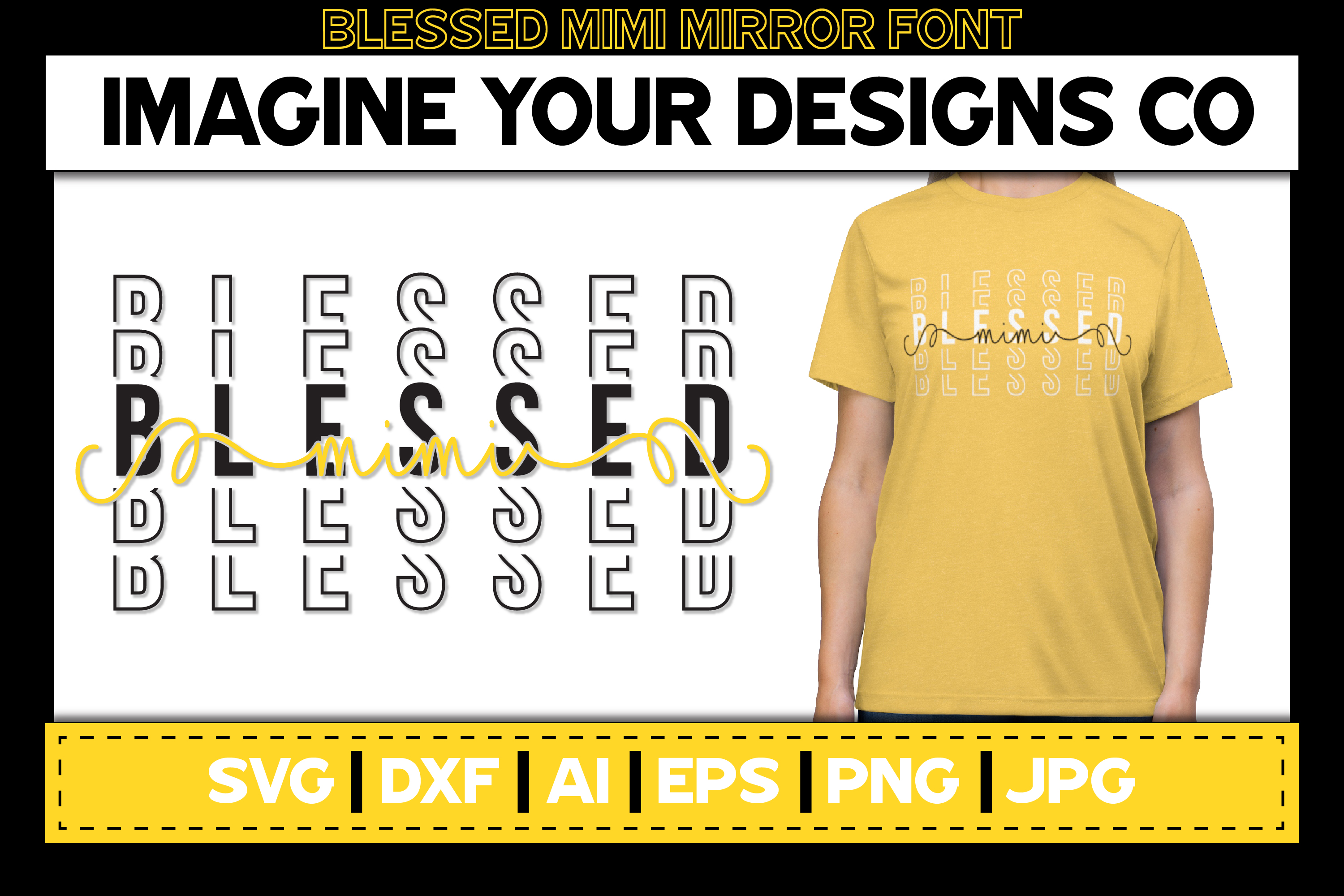 Blessed Madre Stacked Mirror Knockout SVG Sublimation Design example image 4