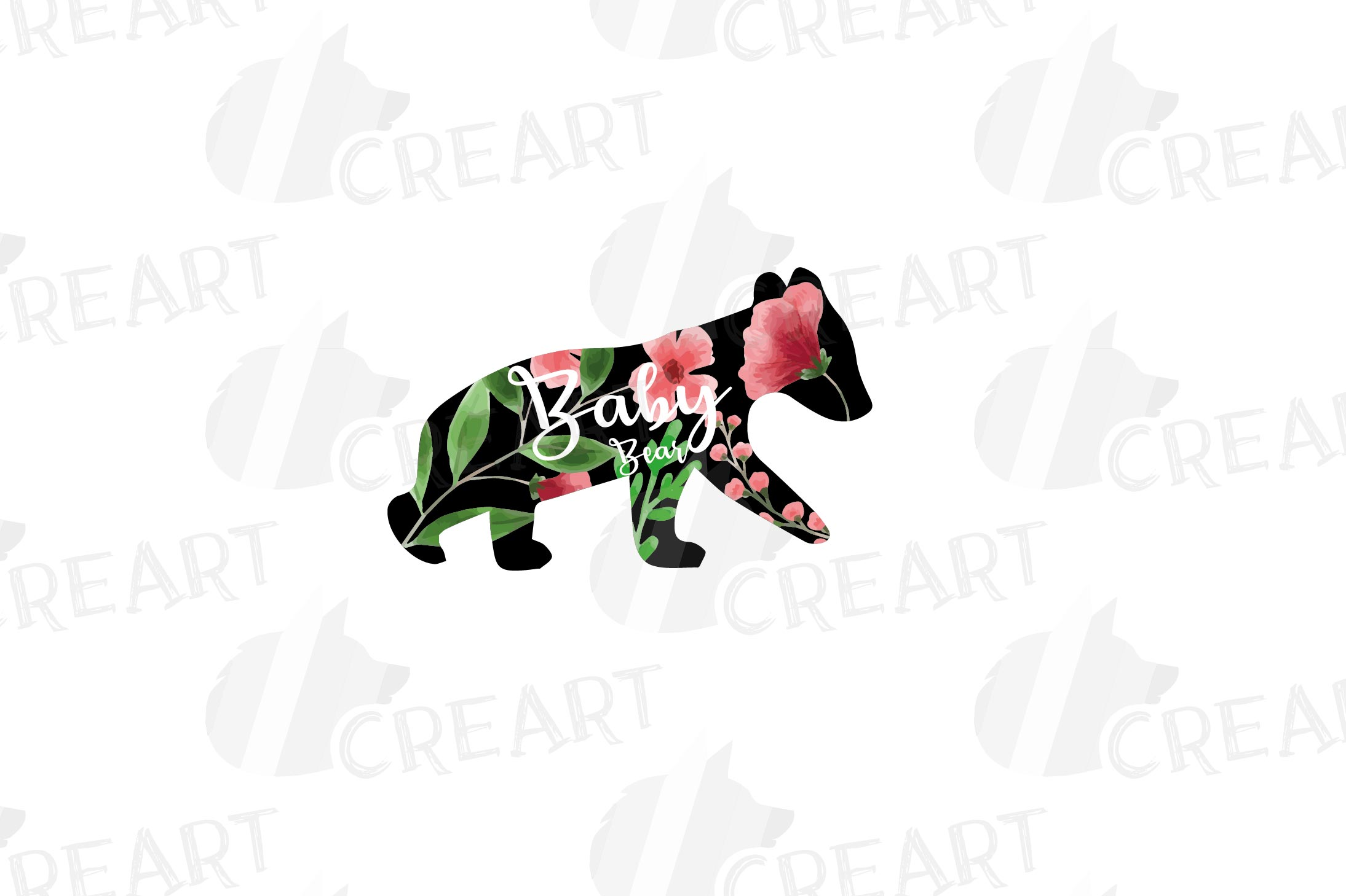 Floral bear family, sister, brother, baby, papa and mama example image 6