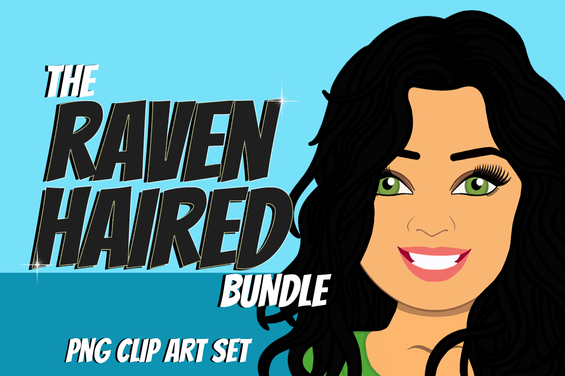 Raven Haired Woman Clip Art Bundle | Female Avatar | Graphic example image 1