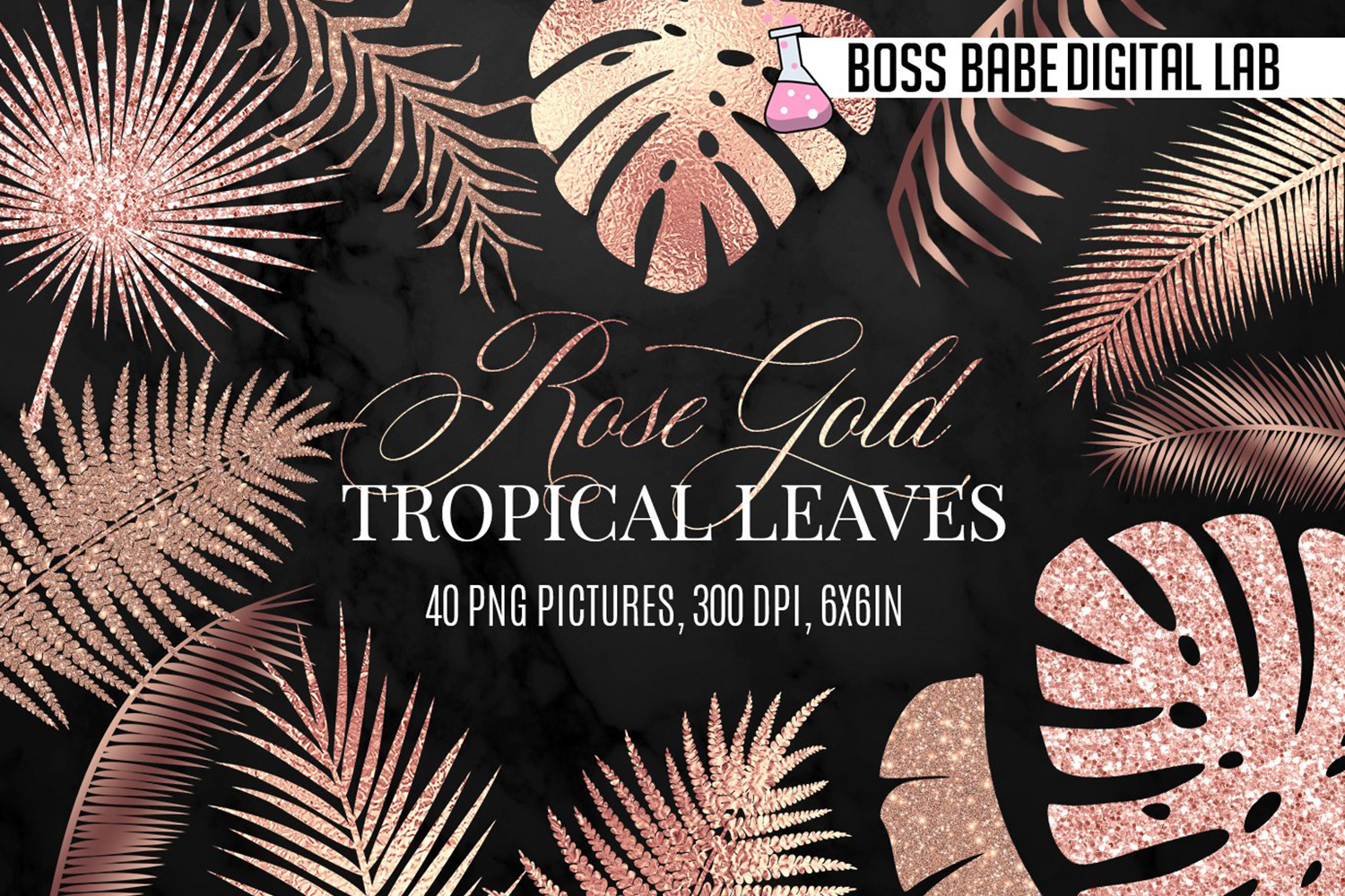 Rose Gold Tropical Leaves Clipart example image 1
