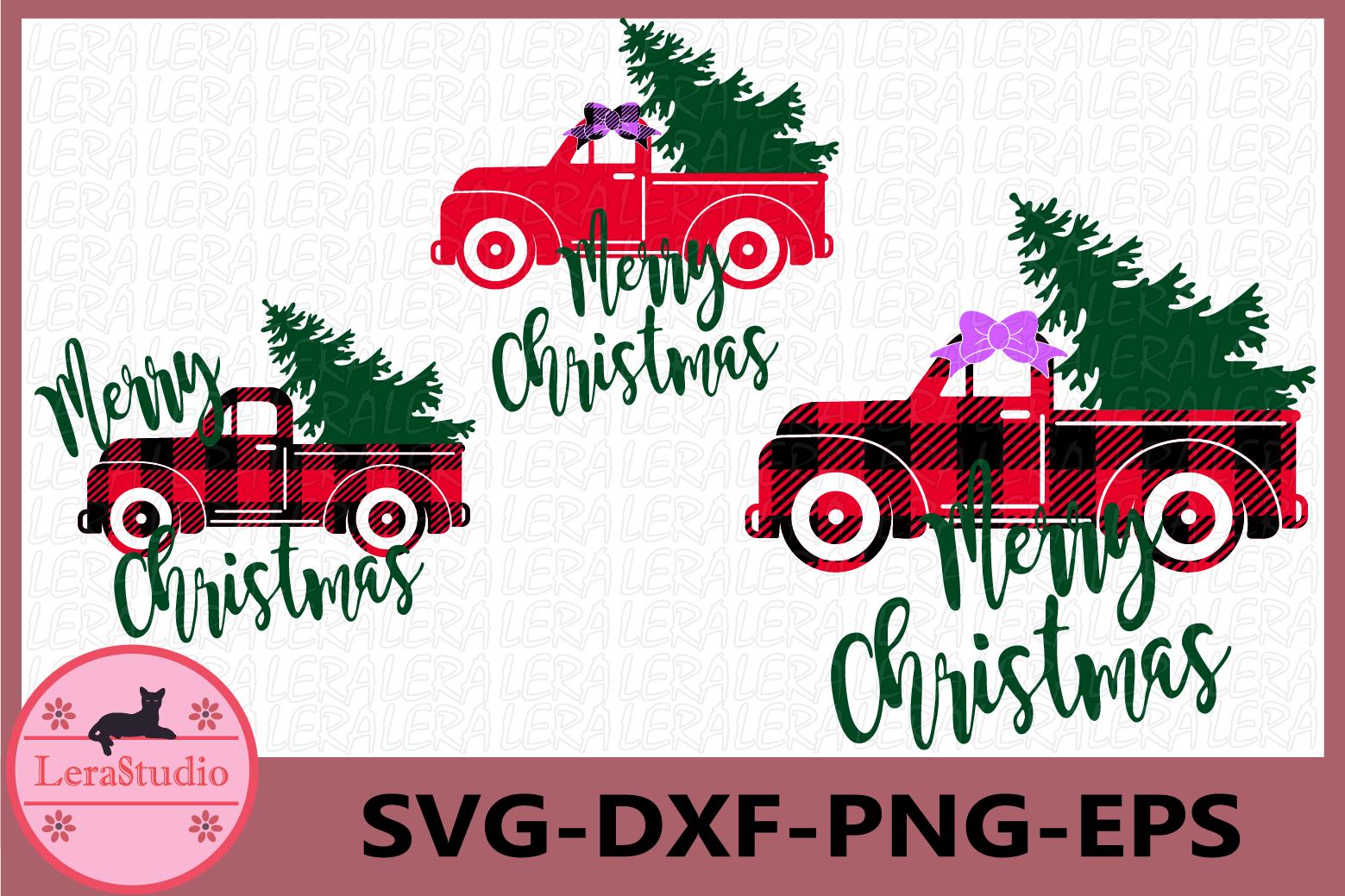 Christmas Tree Truck Svg, Buffalo Plaid Svg, Truck Svg example image 1