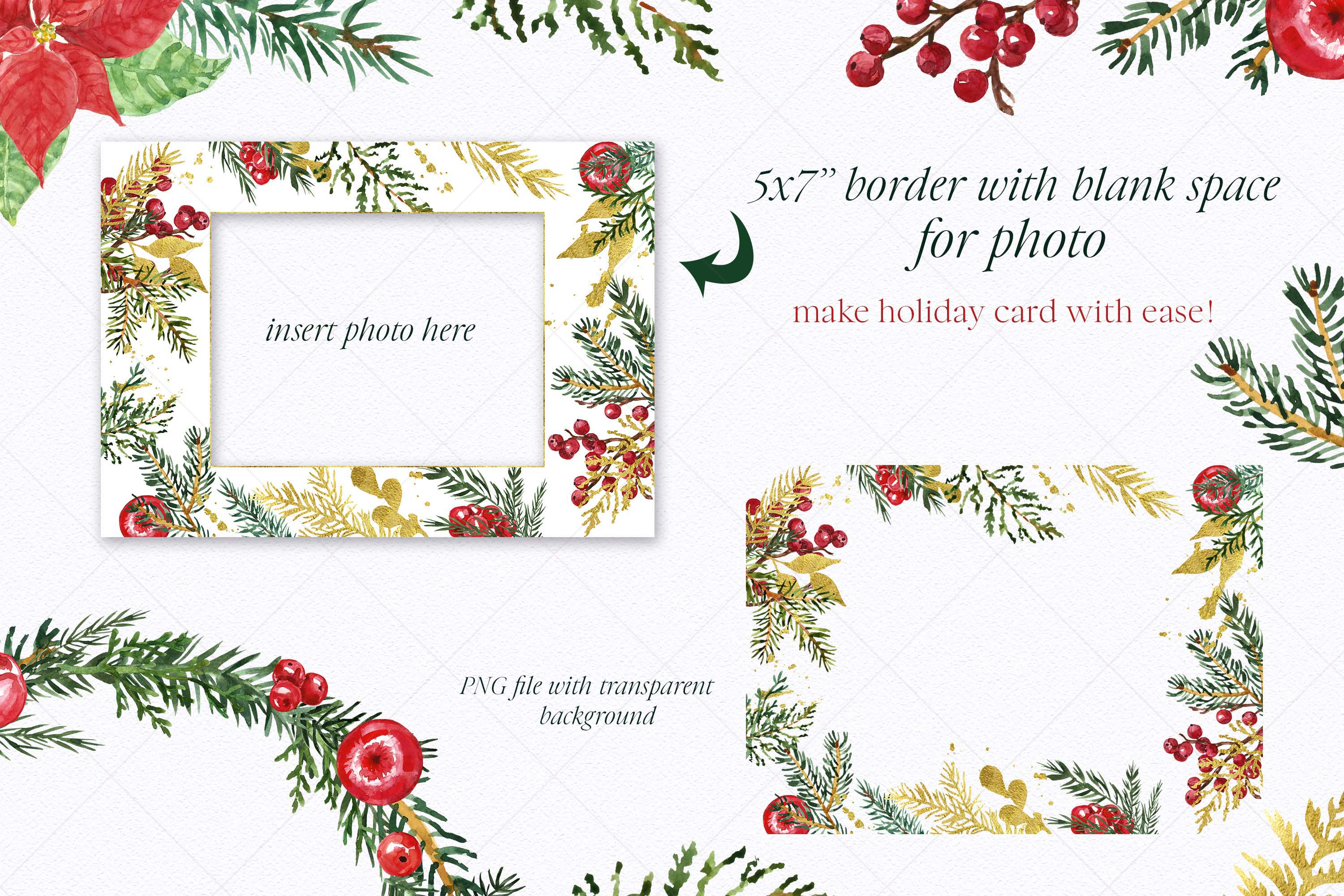 Watercolor Christmas Wreath Holiday Winter Borders Greenery example image 5