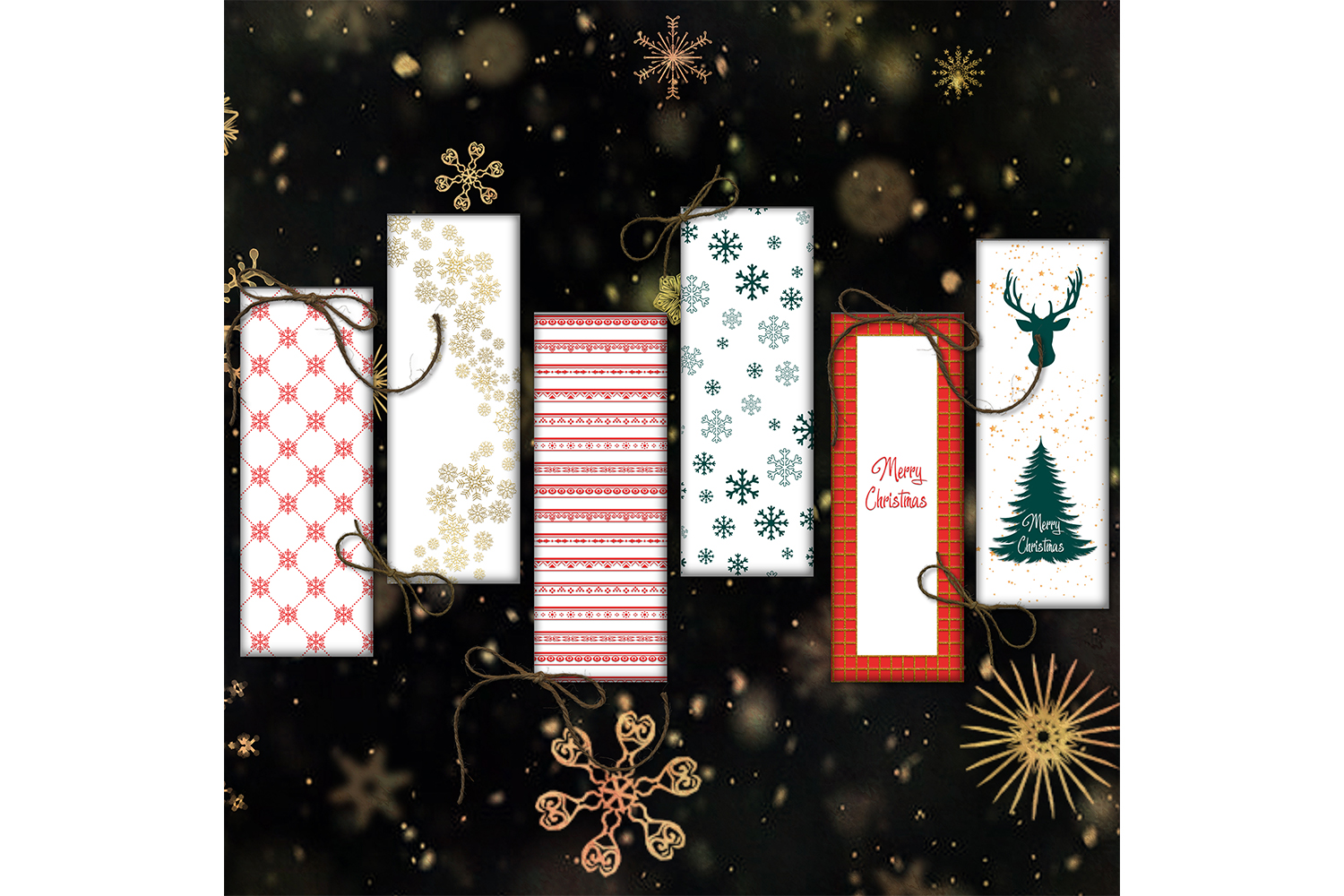 Christmas Bookmarks, Bookmarks Digital, Christmas Cards example image 2