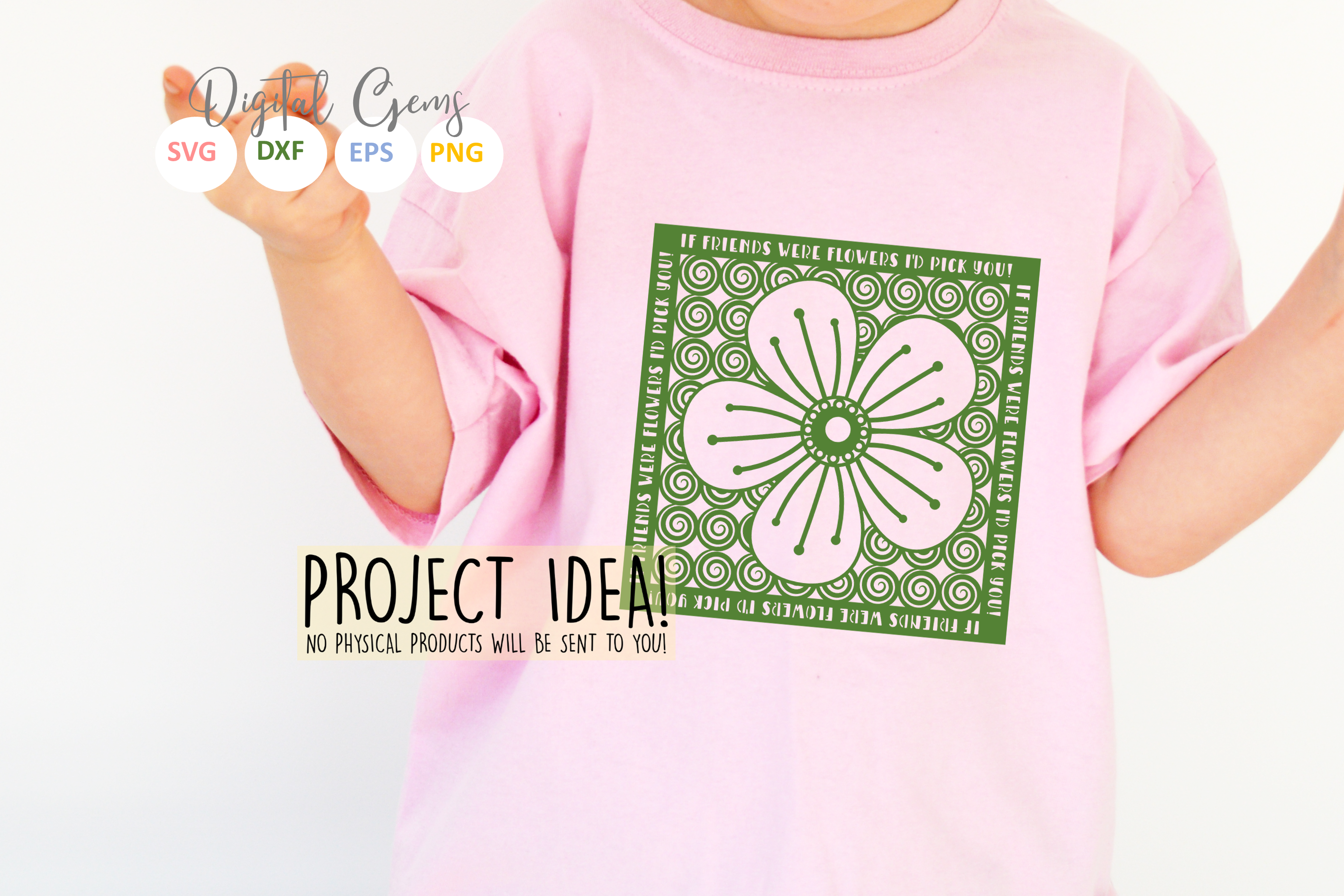 If friends were flowers paper cut SVG / DXF / EPS files example image 3