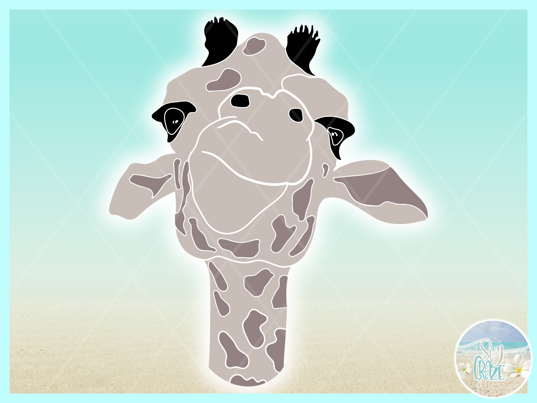 Cute Giraffe Face Svg Dxf Eps Png Pdf Files For Cricut example image 3