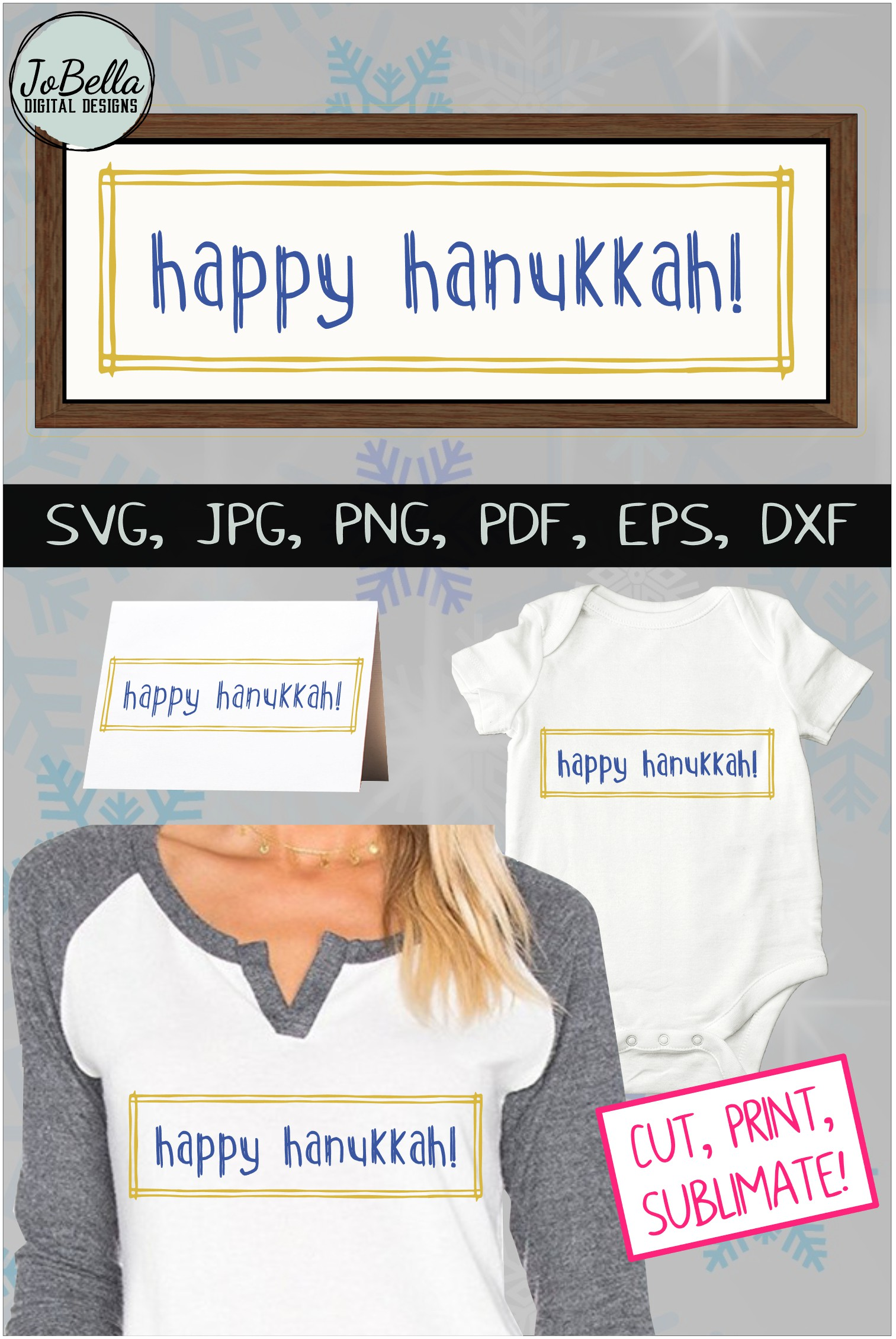 Rustic Happy Hanukkah SVG, Printable and Sublimation P example image 6