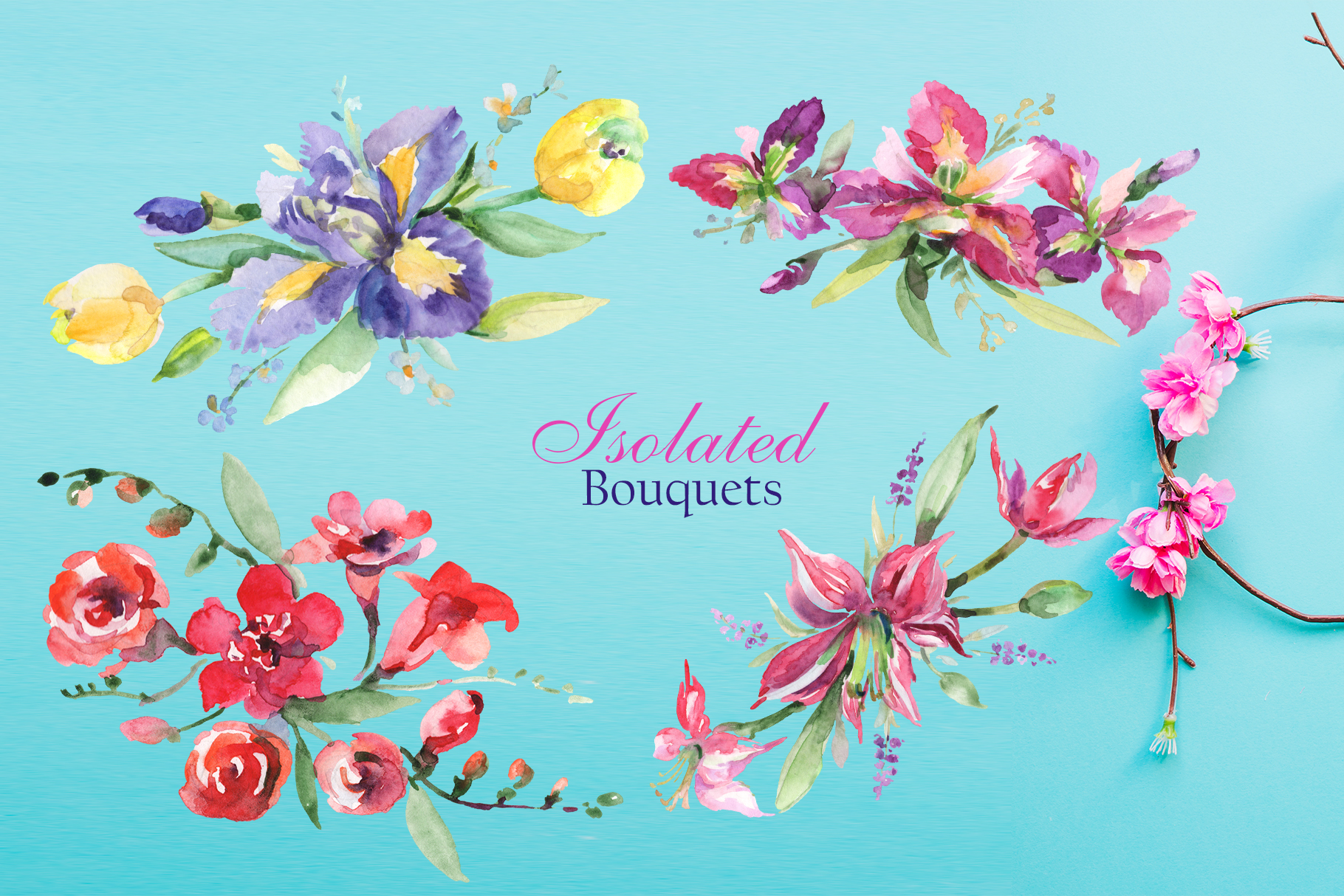 Gentle Bouquets Watercolor png example image 7