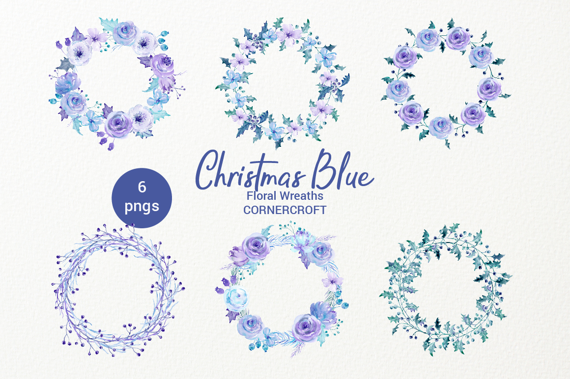 Watercolor Clip Art Christmas Blue example image 4
