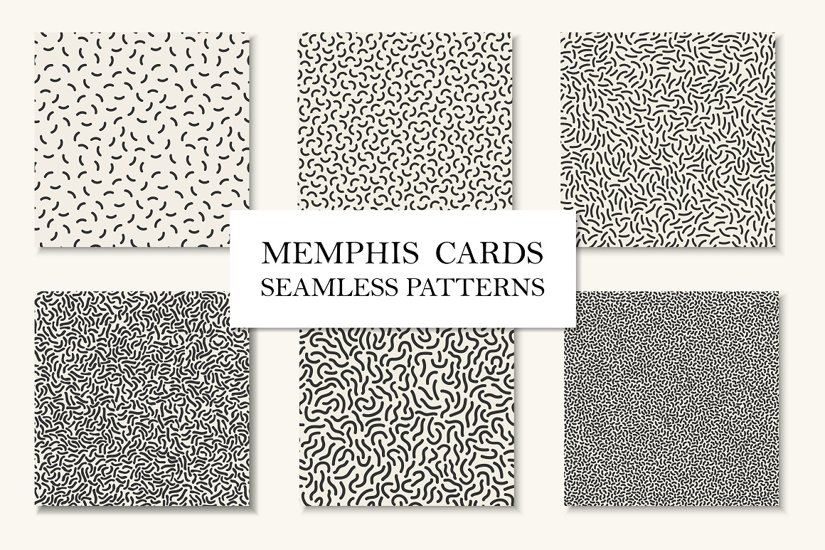 Memphis seamless patterns/cards example image 1