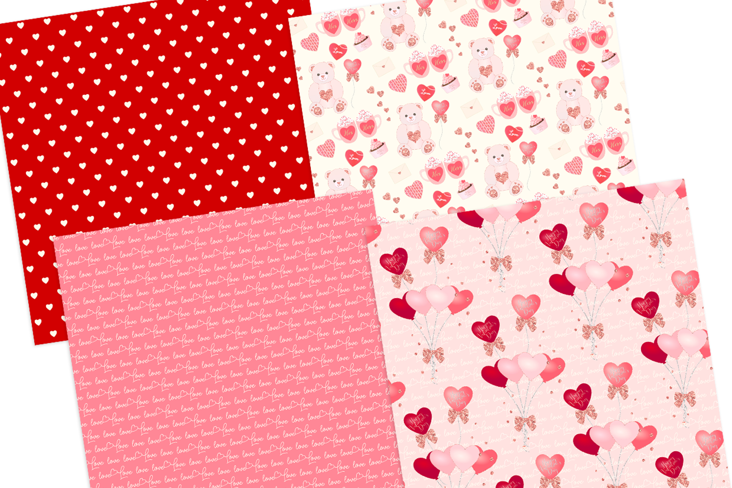 Valentine's Day Seamless Pattern Digital Papers example image 4