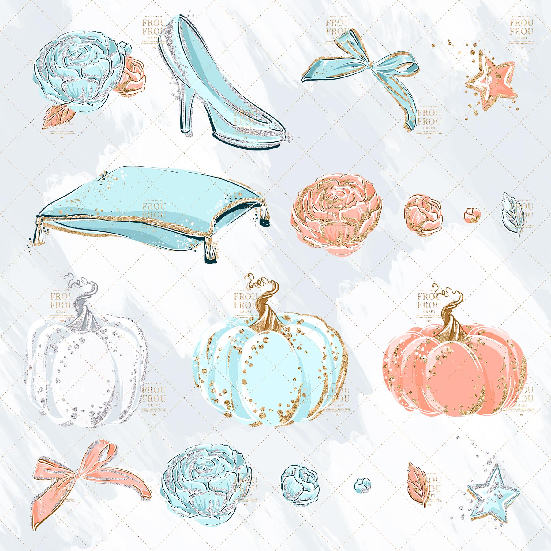 Princess Cinderella Fairy Tale Gold Glitter Clip Art example image 6