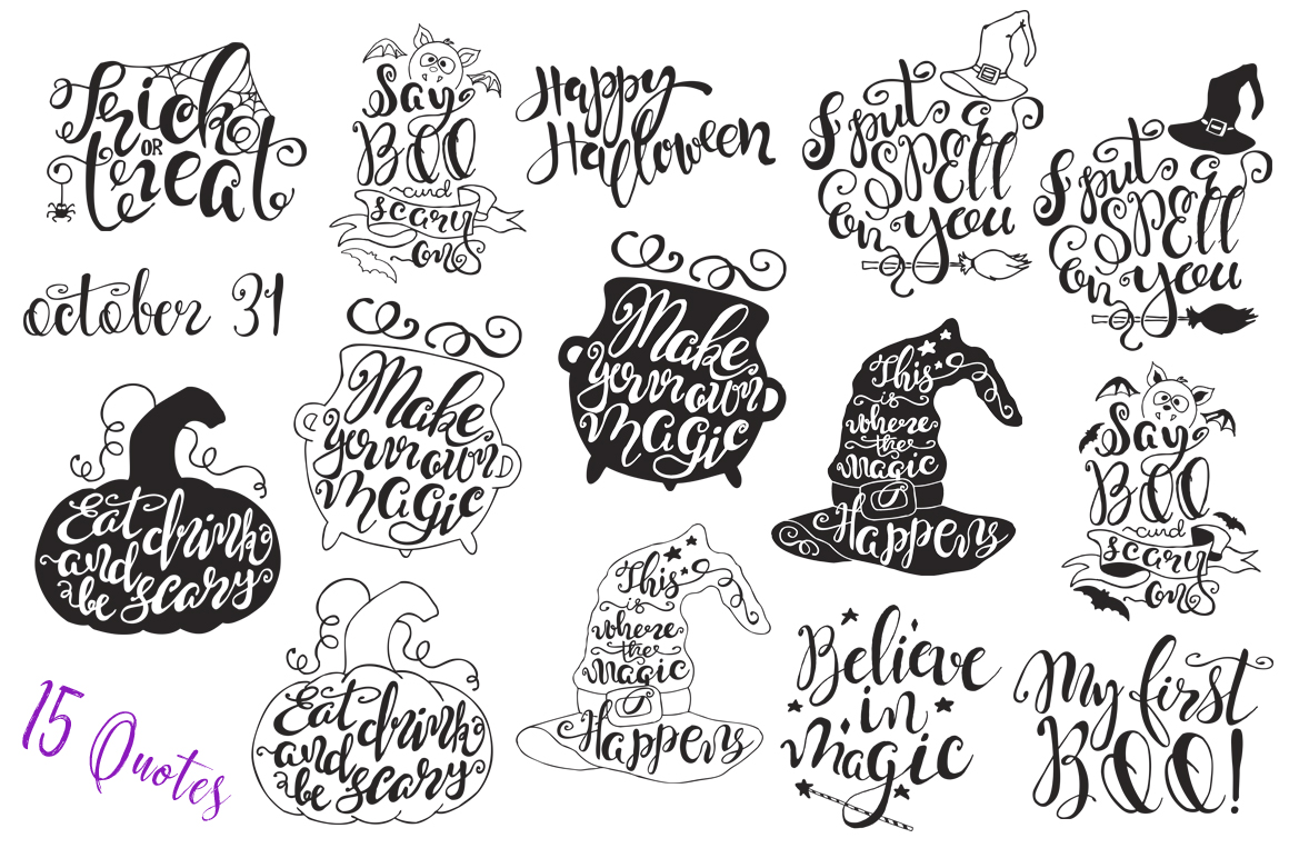 Halloween hand drawn Quotes SVG Cut files example image 4
