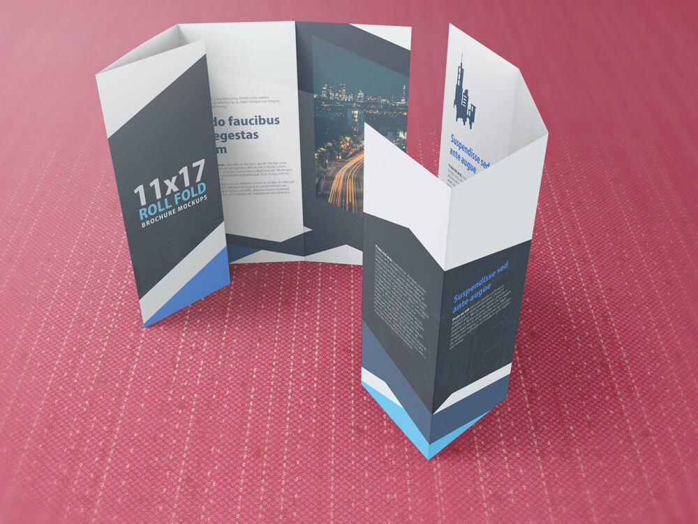11x17 Four Panel Roll Fold Brochure Mockup Example Image 7