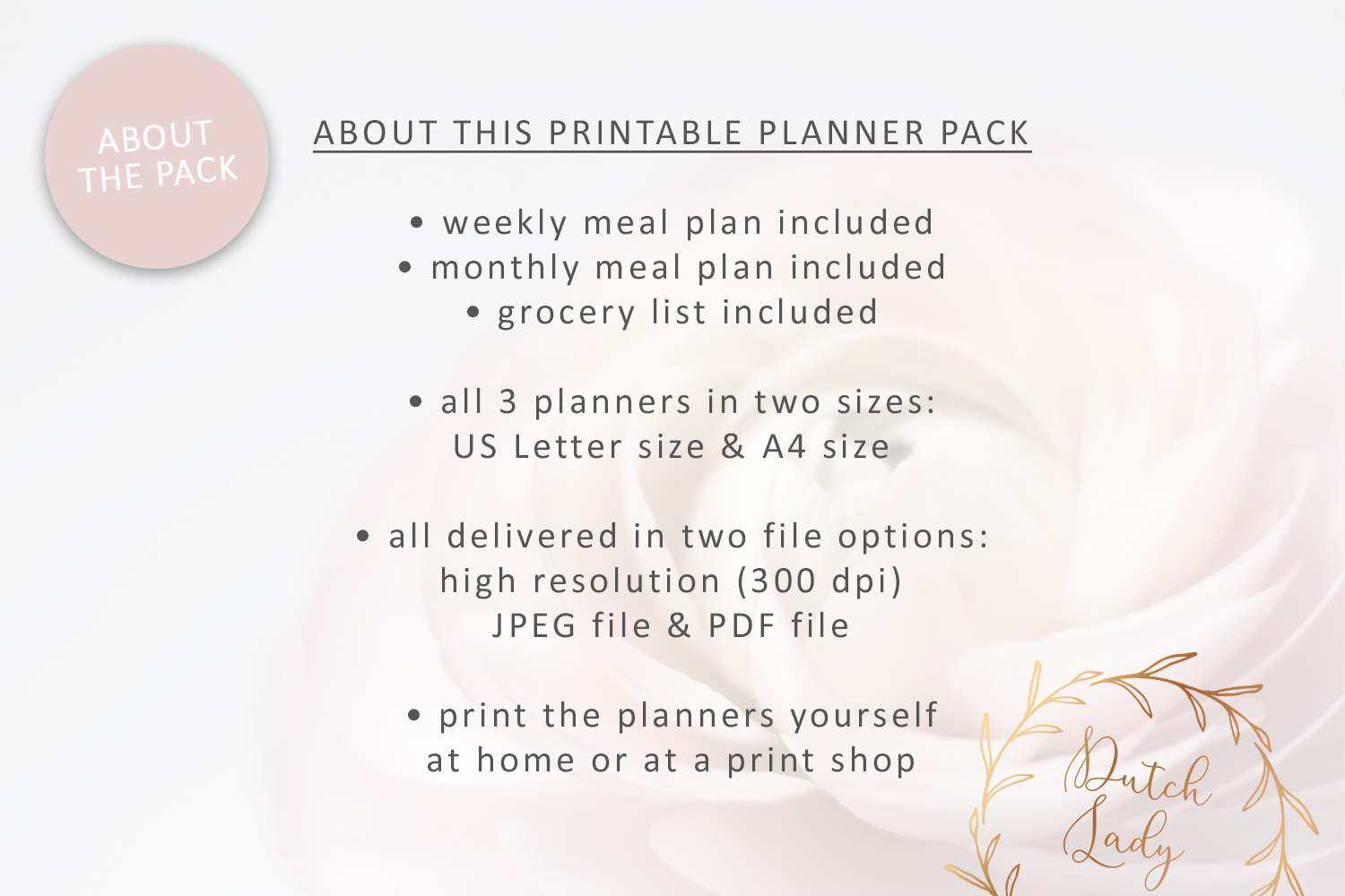 Printable Meal Plan & Grocery List - Planner Pack - Polkadot example image 5