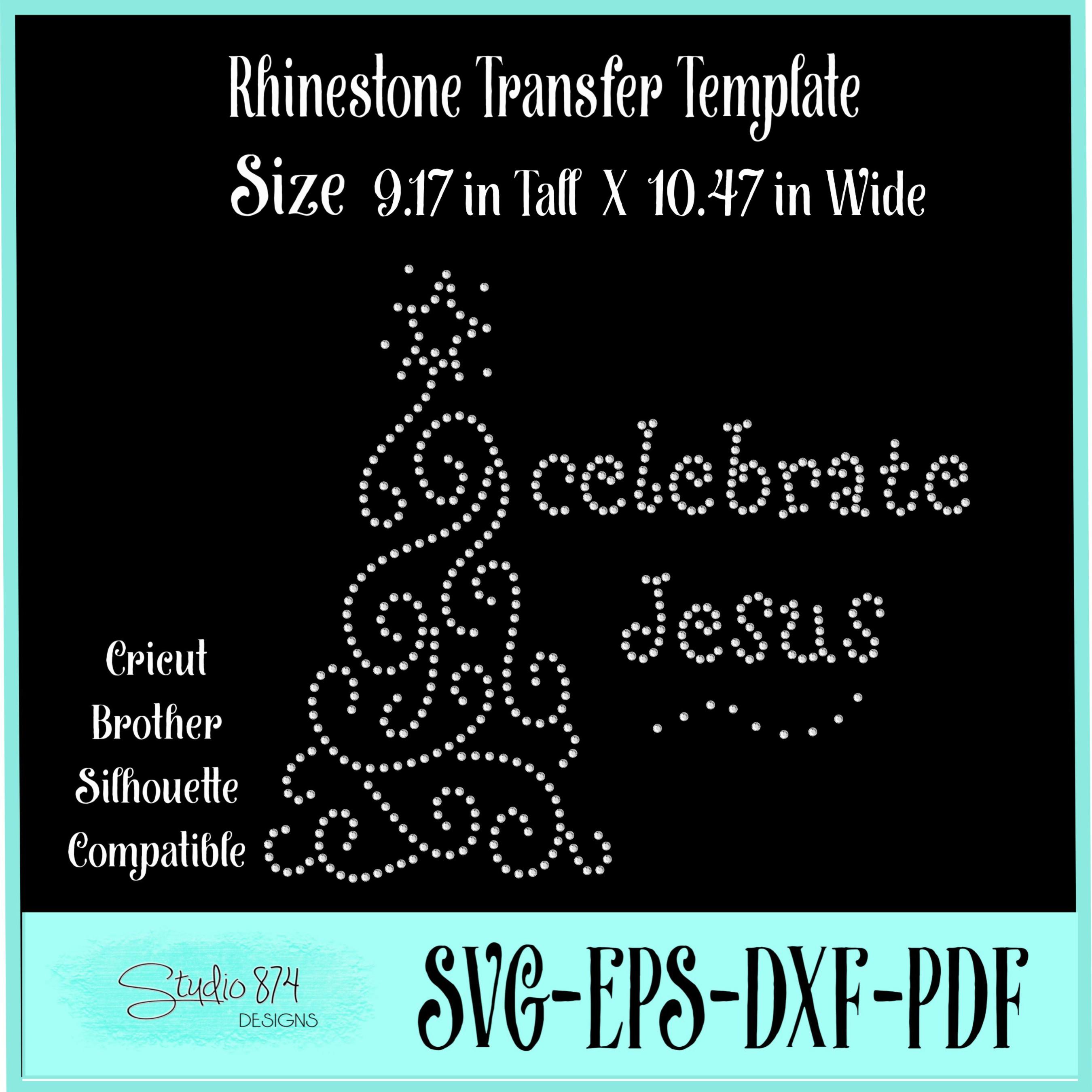 Christmas Rhinestone SVG Template - Celebrate Jesus example image 2